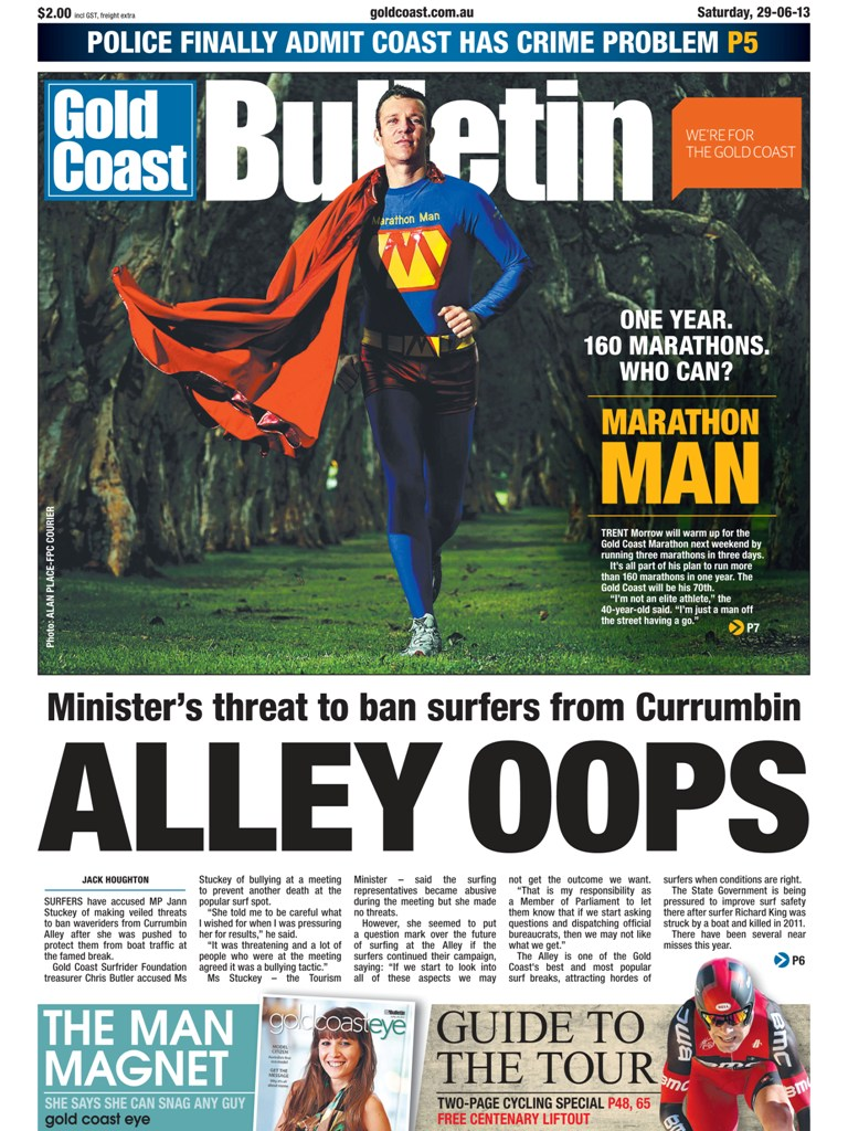 Marathon Man - Gold Coast Bulletin - 29-30 June 2013 - p1