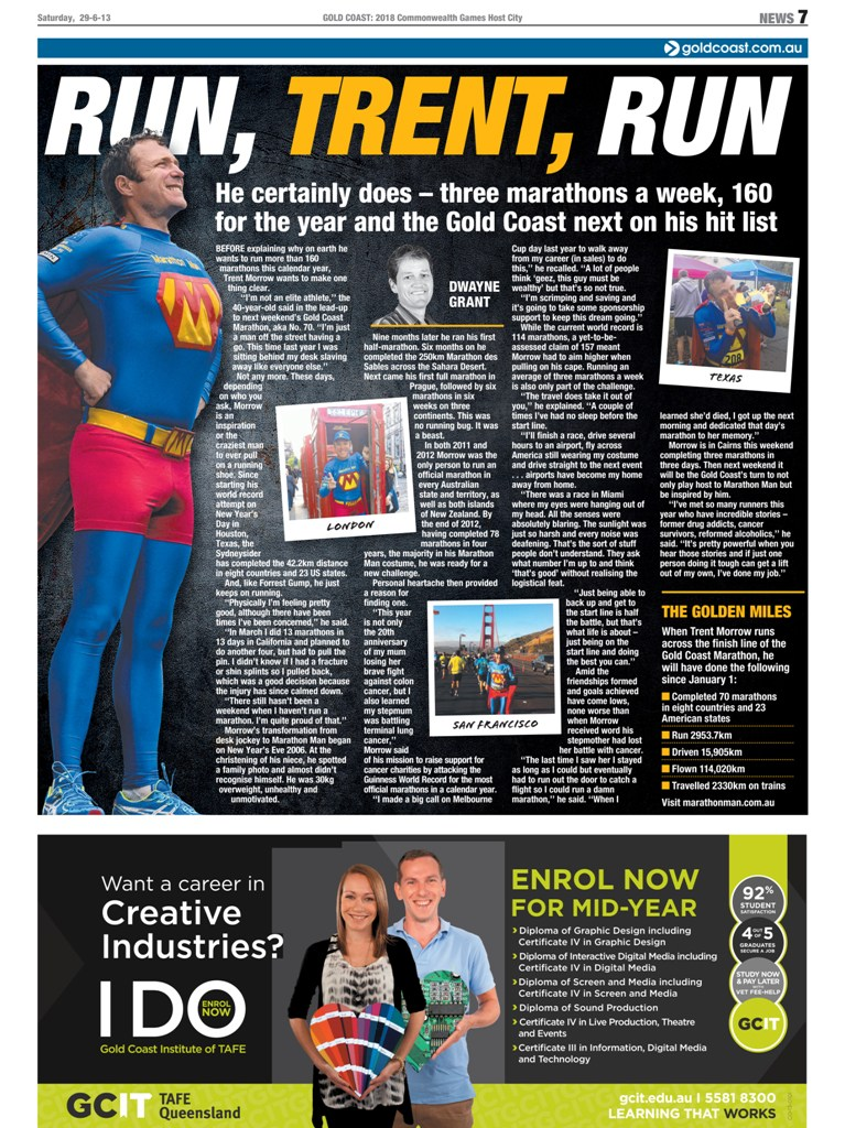 Marathon Man - Gold Coast Bulletin - 29-30 June 2013 - p7